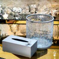 سطل و جا دستمال شیشه ترک استوانه ای طرح سنجاقک