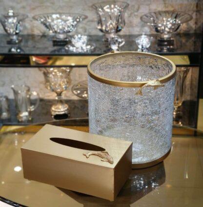 سطل و دستمال شیشه ترک استوانه ای طرح ماهی